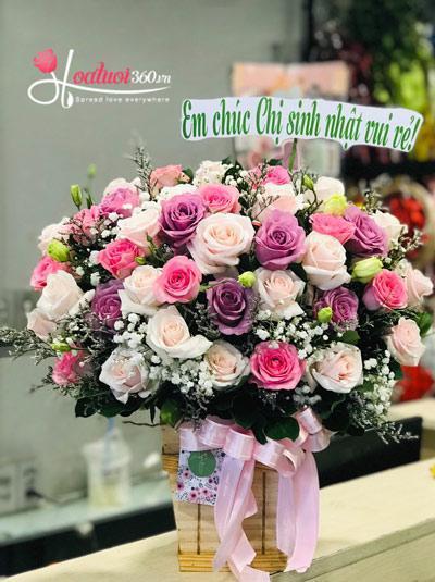 Hoa hồng kết hợp hoa baby - Sắc màu yêu thương